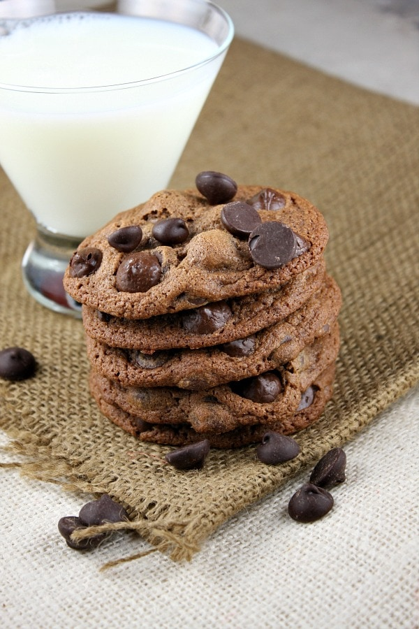 malted dark chocolate chip cookies with milk