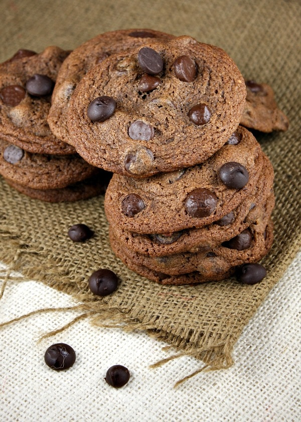 pile of malted dark chocolate chip cookies