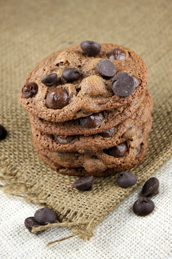 stack of malted dark chocolate chip cookies