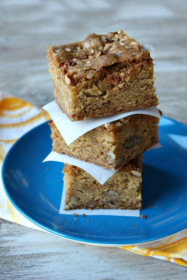 Stack of Brown Butter Toffee Pecan Blondies