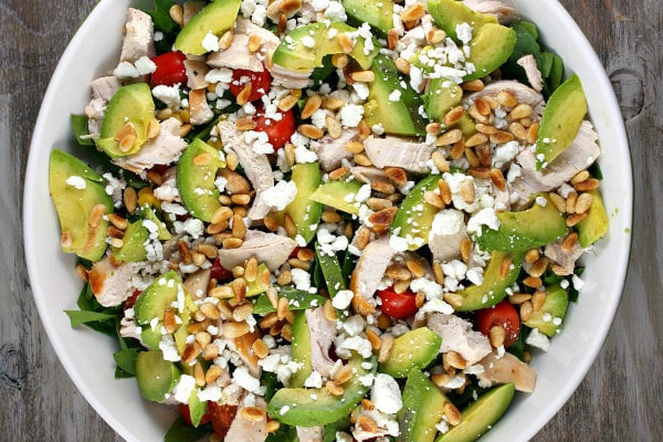 Spinach Salad with Chicken, Avocado and Goat Cheese - from RecipeGirl.com