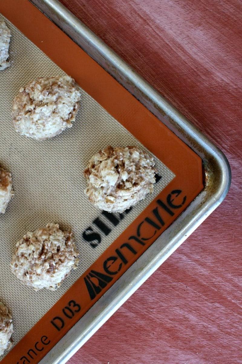 cinnamon bun scones on a baking sheet ready for the oven
