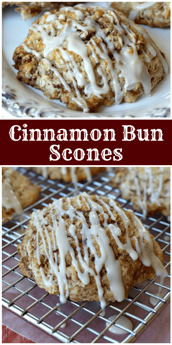 pinterest collage image for cinnamon bun scones