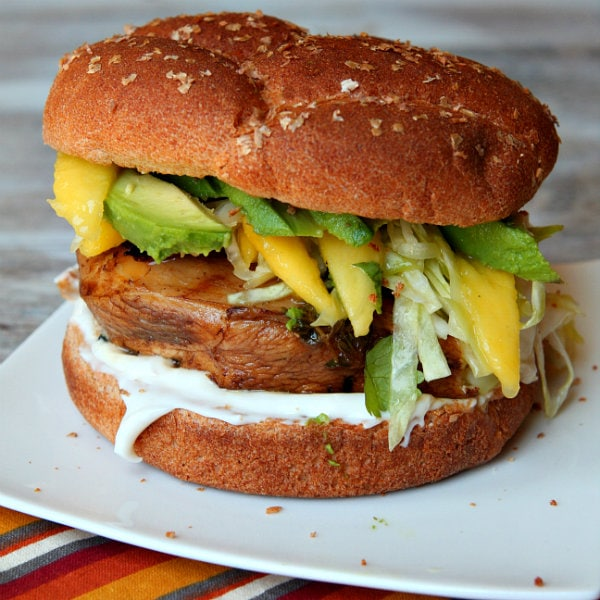 Balsamic Grilled Chicken Sandwich with Avocado and Mango Slaw