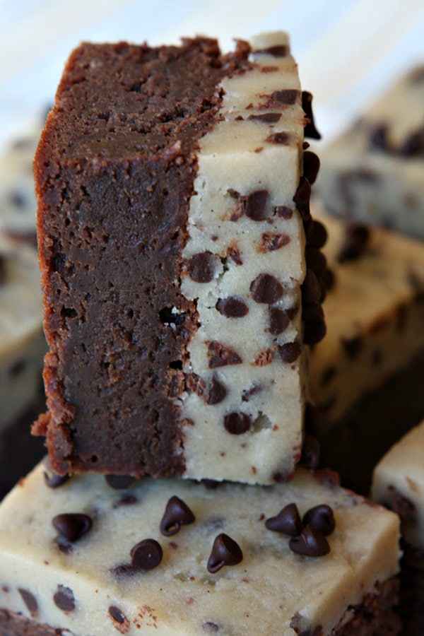 Chocolate Chip Cookie Dough Brownies recipe - from RecipeGIrl.com