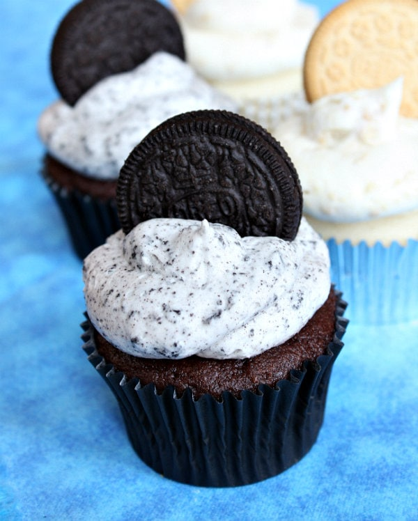 Cookies and Cream Frosting on a cupcake