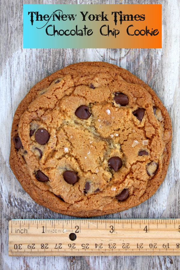 New York Times Chocolate Chip Cookie with a ruler showing it is 4-inches in diameter