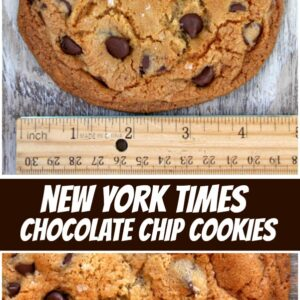 pinterest collage image for new york times chocolate chip cookies