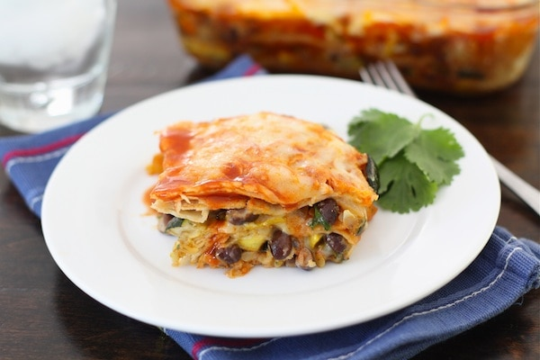 Roasted Vegetable Stacked Enchiladas Recipe — Dishmaps