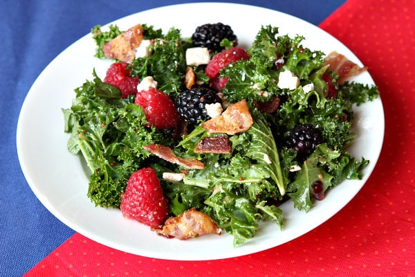 Berry and Bacon Kale Salad with Blackberry Jam Vinaigrette recipe by RecipeGirl.com