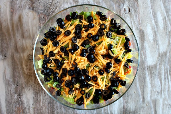 Tex Mex Layered Salad - recipe from RecipeGirl.com