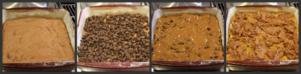 showing process of baking basement brownies in four pan assembly photos of batter, caramel, chocolate chips