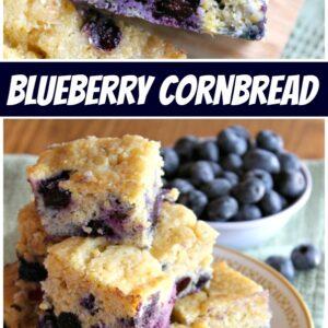 Pinterest collage image for blueberry cornbread