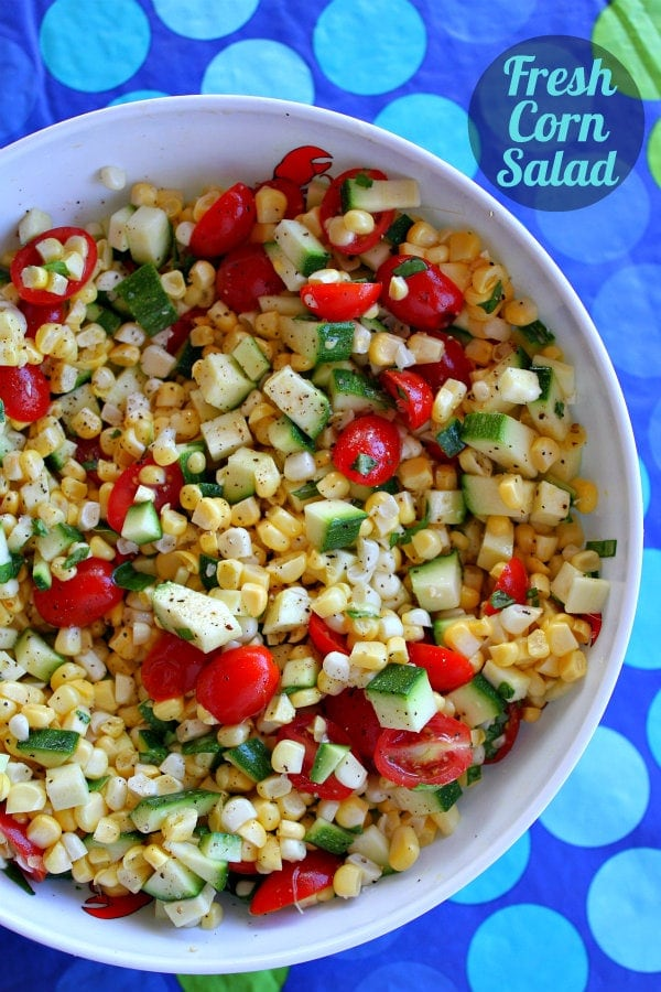 Fresh Corn, Zucchini and Tomato Salad recipe from RecipeGirl.com
