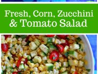 pinterest collage image for fresh corn, zucchini and tomato salad