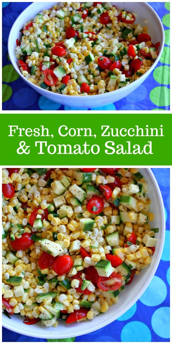 Fresh Corn, Zucchini and Tomato Salad recipe from RecipeGirl.com #corn #zucchini #tomato #summer #salad #recipe #RecipeGirl