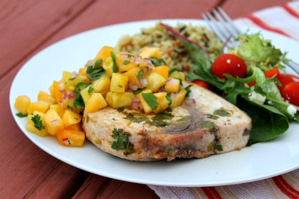 Grilled Swordfish with Pineapple Peach Salsa