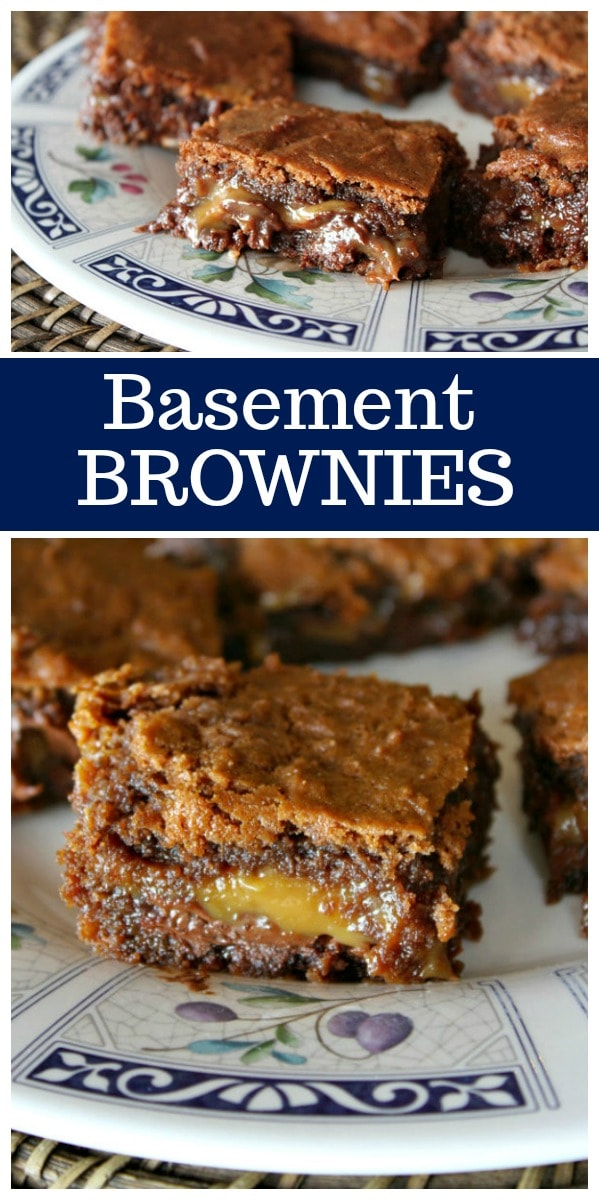 Basement Brownies, otherwise known as the best Chocolate Caramel Brownies!  Recipe from RecipeGirl.com #chocolate #caramel #brownies #recipe #RecipeGirl