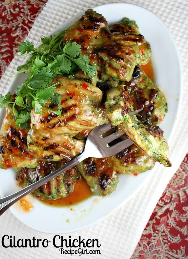 Grilled Cilantro Chicken - recipe from RecipeGirl.com