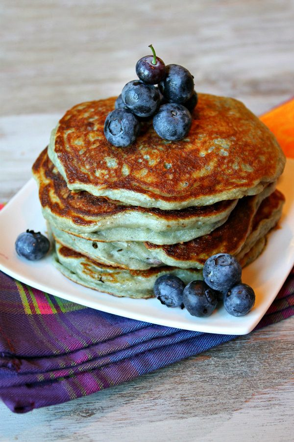 stack of Greek Yogurt Pancakes with blueberries