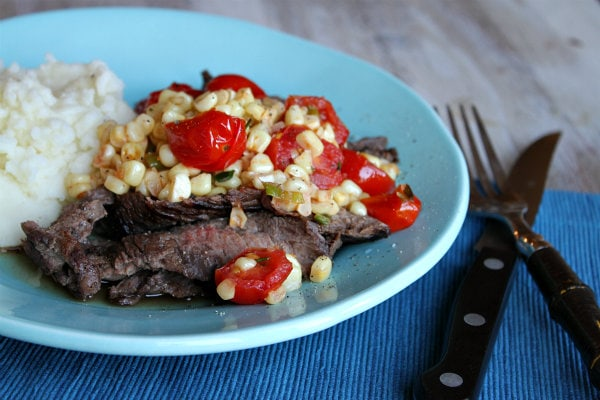 Grilled Skirt Steak with Corn and Cherry Tomato Salad