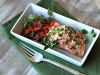 Lemon- Oregano Salmon with Roasted Tomatoes