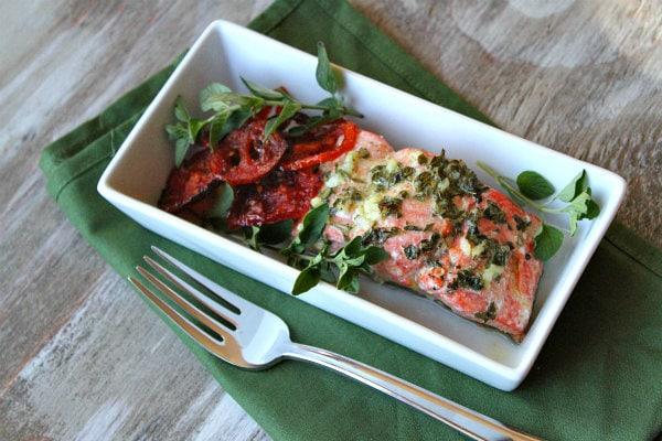 Lemon Oregano Salmon with roasted tomatoes