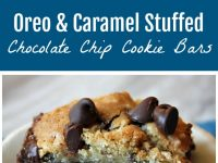 pinterest collage image for oreo and caramel stuffed chocolate chip cookie bars