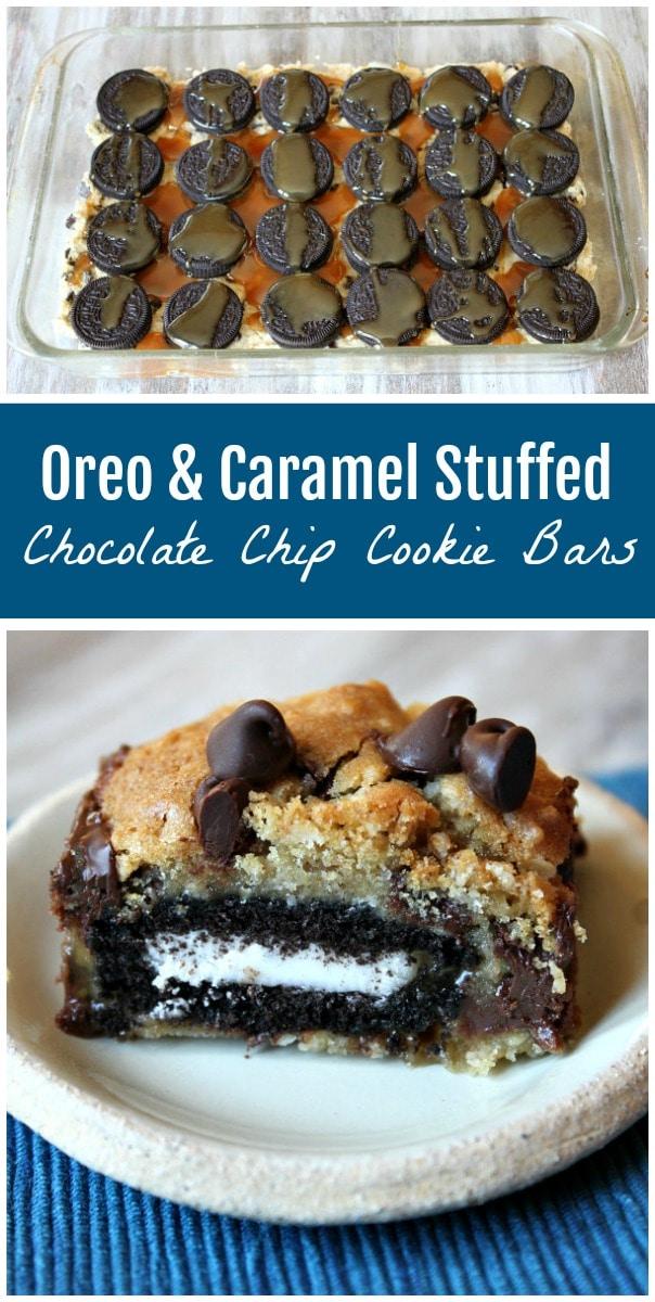 Oreo and Caramel Stuffed Chocolate Chip Cookie Bars recipe from RecipeGirl.com