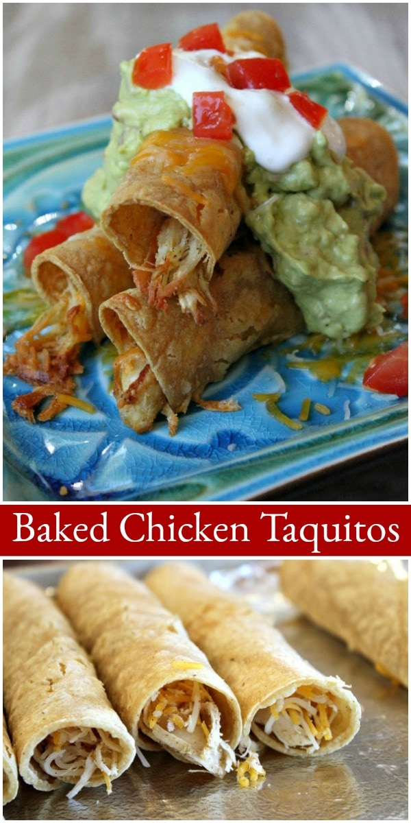 Pinterest collage image for Baked Chicken Taquitos