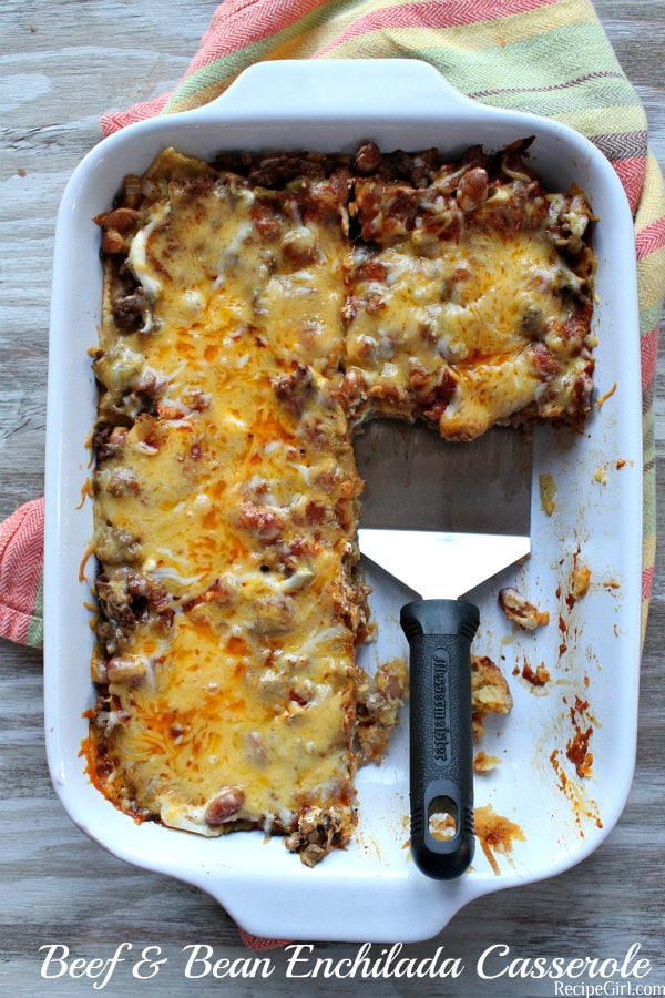 Dish of Beef and Bean Enchilada Casserole
