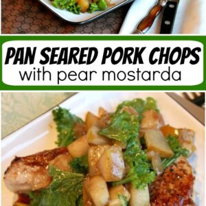 pinterest collage image for pan seared pork chops