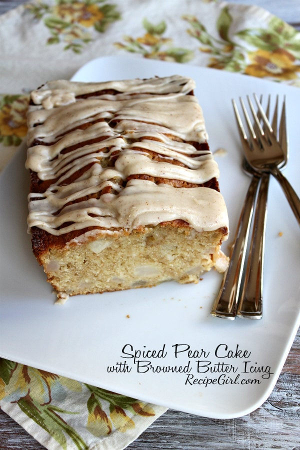 Spiced Pear Cake with Browned Butter Icing - RecipeGirl.com