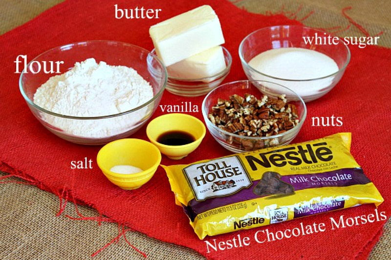 Ingredients needed for Chocolate Chip Cookie Brittle