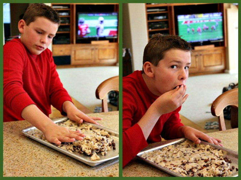 RecipeBoy making and eating Chocolate Chip Cookie Brittle