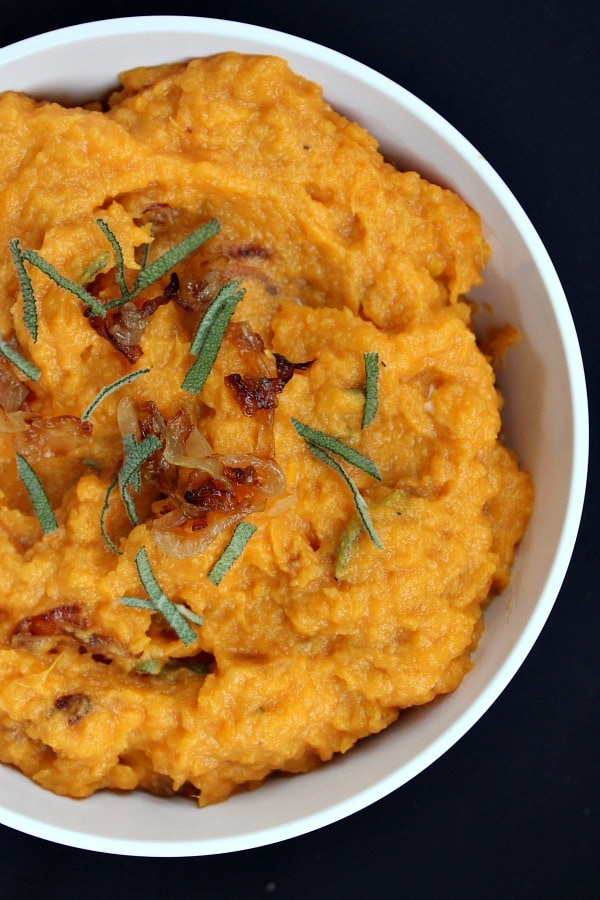 Mashed Sweet Potatoes with Caramelized Onions, Brie and Sage