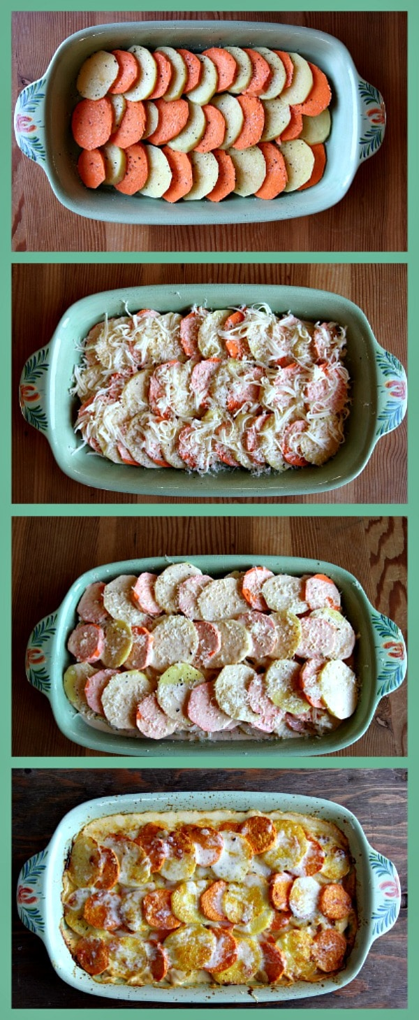 series of four photos showing process of assembling Pumpkin Scalloped Potatoes