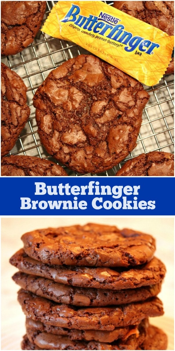 Pinterest Collage Image for Butterfinger Brownie Cookies