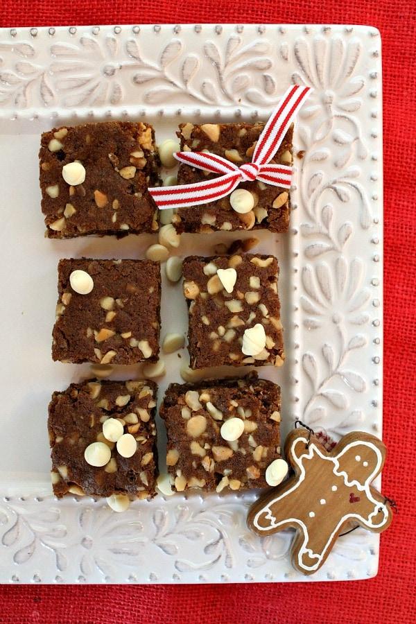 White Chocolate- Macadamia Nut Gingerbread Bars