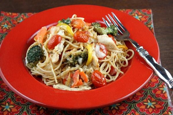 Bowl of Baked Lemon Chicken Spaghetti Primavera