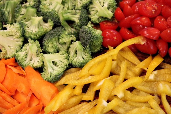 Fresh vegetables for pasta