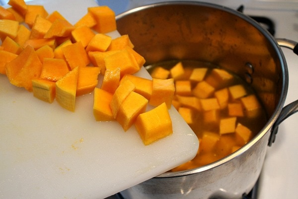 making Butternut Squash and Kale Soup