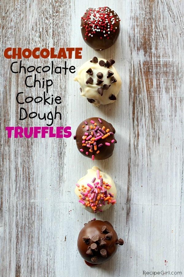 Chocolate Chocolate Chip Cookie Dough Truffles - RecipeGirl.com