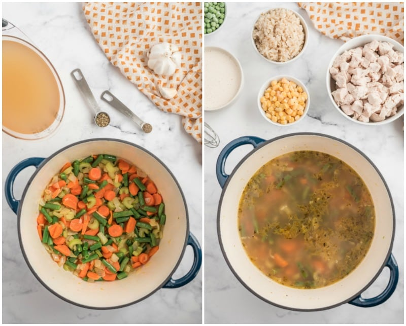 showing two pictures process of making chicken soup