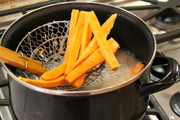 How to make Sweet Potato Fries fry pan
