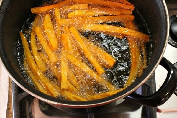 Sweet Potato Fries frying