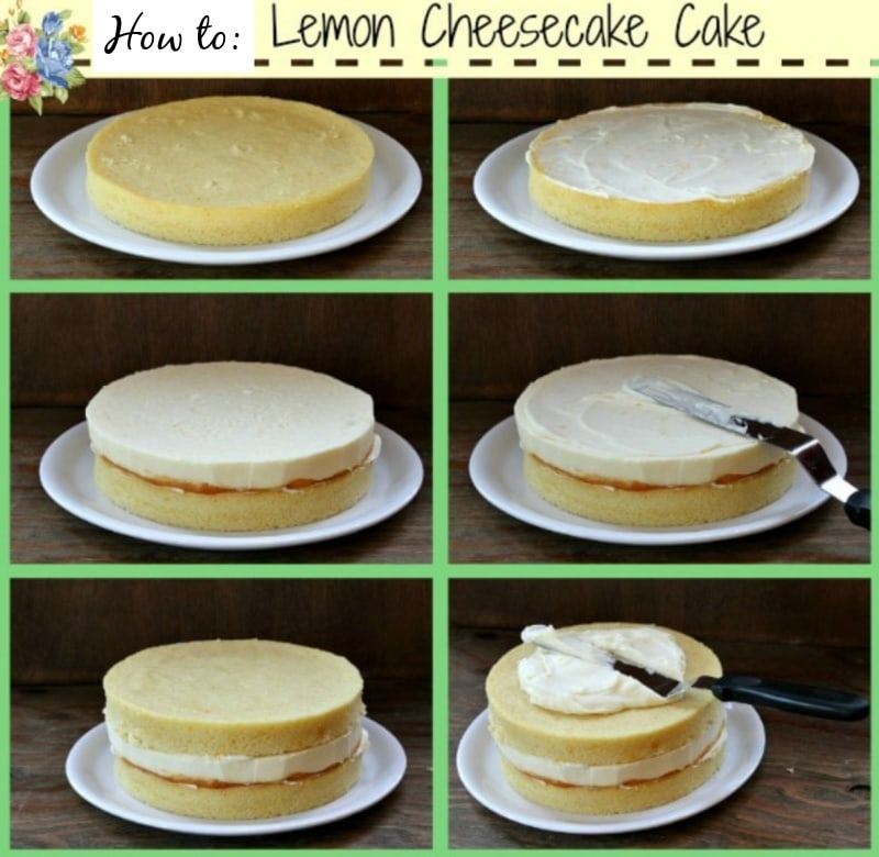 photos showing process of putting together lemon cheesecake cake