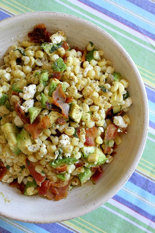 Bacon, Corn And Avocado Salad - RecipeGirl.com