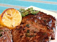 Pan Fried Lemon- Garlic Rib-Eye Steaks