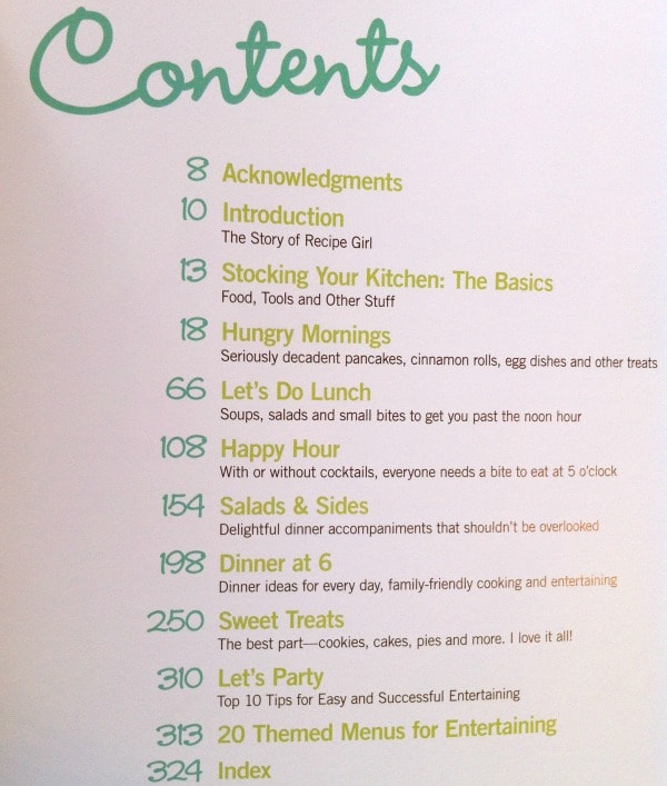Recipe Girl Cookbook Contents